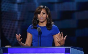 First Lady Michelle Obama speaks during the first day of the Democratic National Convention on Monday, July 25, 2016 at the Wells Fargo Center in Philadelphia, Pa. (Olivier Douliery/Abaca Press/TNS)